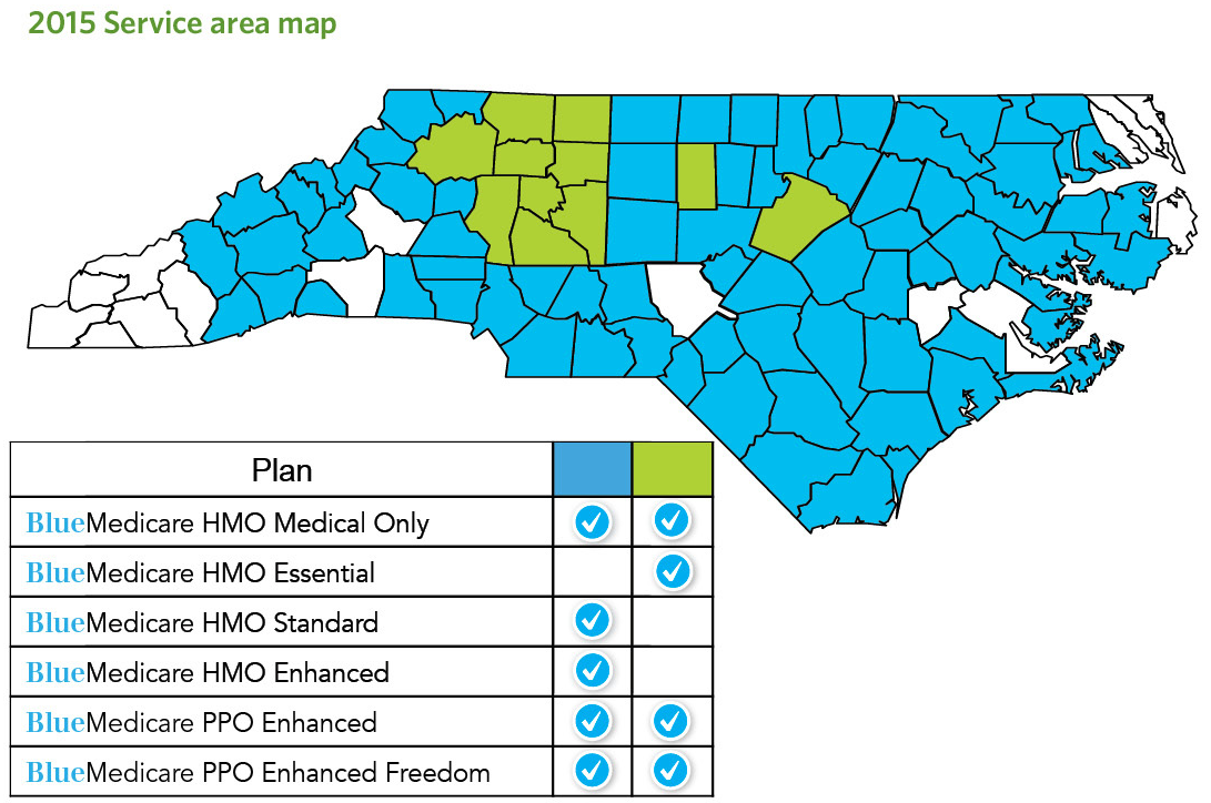 HMO and Blue Medicare PPO Service Area. See also table of Service Area Coverage by County.
