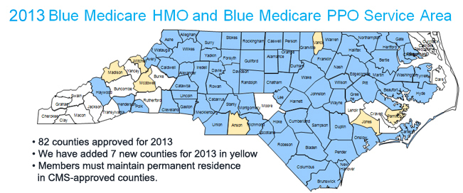 HMO and Blue Medicare PPO Service Area
