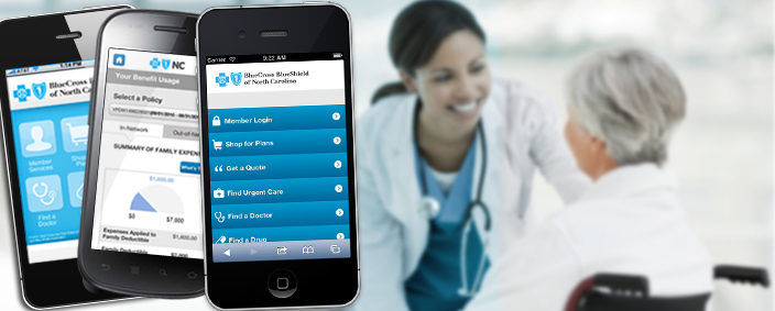 BCBSNC offers a mobile website and a free HealthNAV app.