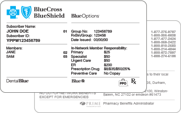 Blue Cross Shield Nc Policy Number Card on Federal Blue Cross Insurance Card