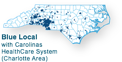 network map for Blue Local with Carolina HealthCare System - Charlotte area